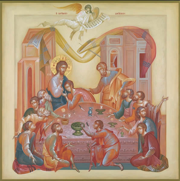 LAST SUPPER, EGG TEMPERA ON WOOD, 100X100 CM.